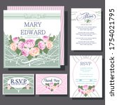 wedding invitations card with... | Shutterstock .eps vector #1754021795