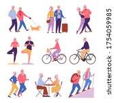 seniors activities. vector... | Shutterstock .eps vector #1754059985