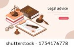 lawyer office workplace with... | Shutterstock .eps vector #1754176778