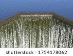 Cascade Of Water Over Modern...