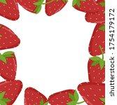 strawberry frame. place for...   Shutterstock .eps vector #1754179172