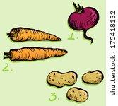 set of drawing vegetables | Shutterstock .eps vector #175418132