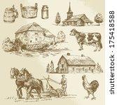 rural landscape  farm  hand...   Shutterstock .eps vector #175418588