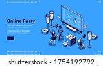 Online Party Banner. Virtual...
