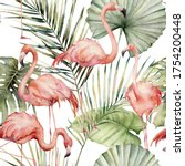 Watercolor Tropical Seamless...