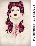 vibrant rockabilly woman with... | Shutterstock .eps vector #175427135
