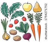 hand drawn farm produce set.... | Shutterstock .eps vector #1754271752