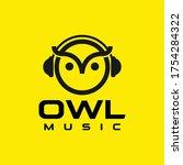 owl music logo design template | Shutterstock .eps vector #1754284322