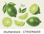 3d illustration of fresh lime...   Shutterstock .eps vector #1754296655