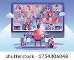 video conference landing.... | Shutterstock .eps vector #1754306048
