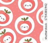 cute peach fruit kawaii face...   Shutterstock .eps vector #1754381942