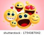 emojis smiley group vector...   Shutterstock .eps vector #1754387042