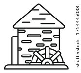 Waterwheel Mill Icon. Outline...