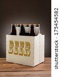 closeup of a six pack of brown... | Shutterstock . vector #175454582