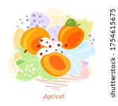 fresh  bright whole and halved... | Shutterstock .eps vector #1754615675