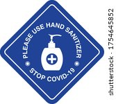 hand sanitizer sign  stop covid ...   Shutterstock .eps vector #1754645852