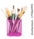 many brushes in stand isolated... | Shutterstock . vector #175464995