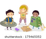 illustration of kids wearing... | Shutterstock .eps vector #175465352