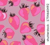 pink fancy strawberry vector... | Shutterstock .eps vector #1754660492