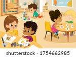 preschool class. vector... | Shutterstock . vector #1754662985