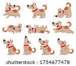 cartoon dog. cute dogs in daily ... | Shutterstock .eps vector #1754677478