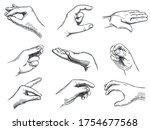 engraved holding hand gesture.... | Shutterstock .eps vector #1754677568