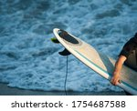 Surfer Man With Surfboard In...