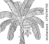 line art design of banana tree... | Shutterstock .eps vector #1754749745