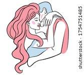 love couple pop art   line art... | Shutterstock .eps vector #1754751485
