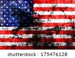 grunge usa flag background  | Shutterstock . vector #175476128