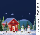 merry christmas and happy new...   Shutterstock . vector #1754819012
