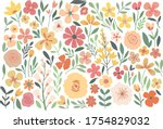 A Color Set Of Stylized Flower...