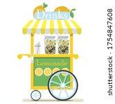 Flat Cute Cart With Lemonade...