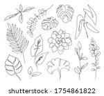 vector one line leaves set ... | Shutterstock .eps vector #1754861822