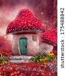 Fairy Mushroom House On A Pink...