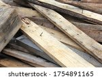 Pile Of Old Dirty Wooden Board...