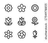flower icon set line art design ... | Shutterstock .eps vector #1754978855