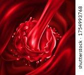stream of cherry juice pours... | Shutterstock .eps vector #1754993768