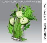 splash of green juice in a... | Shutterstock .eps vector #1754993792