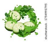 green juice splash with... | Shutterstock .eps vector #1754993795