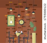 empty cafe interior with light. ... | Shutterstock .eps vector #1755000122