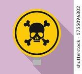 round danger sing icon. flat... | Shutterstock .eps vector #1755096302