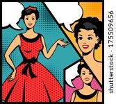 illustration of retro girl in... | Shutterstock .eps vector #175509656