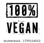 vegan label for t shirt print... | Shutterstock .eps vector #1755116012