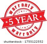 5 year  warranty stamp vector... | Shutterstock .eps vector #1755122552