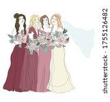 bridesmaids in gradient... | Shutterstock .eps vector #1755126482