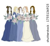 four bridesmaids in gradient... | Shutterstock .eps vector #1755136925