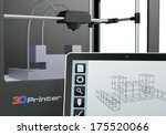 one 3d printer with a tablet pc ...   Shutterstock . vector #175520066