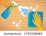 hand with rubber glove and...   Shutterstock .eps vector #1755238085