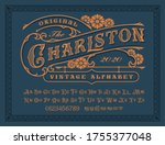 a vintage alphabet with upper... | Shutterstock .eps vector #1755377048